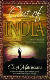 Caryl Matrisciana Out of India book cover with ocean sunset and female yogi